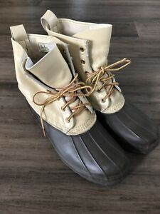Men's 10- LL Bean Maine Hunting Shoe Boots Original Duck Vintage Leather Rubber