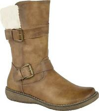Cipriata BELLA Ladies Womens Warm Fleece Collar Buckle Winter Mid Calf Boots Tan
