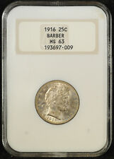 1916 Barber Quarter NGC MS 63 1st Generation Slab with Beautiful Toning