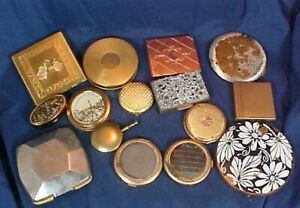 Selection Vintage Compacts Round Square Copper Brass Color