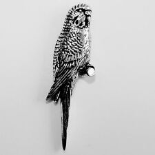 Budgerigar Pewter Pin Brooch - British Artisan Signed Badge - Budgie, Parakeet