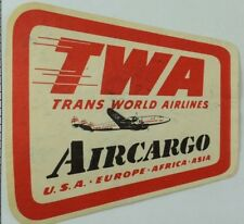 1940's-50's Trans World Airlines Air Cargo Luggage Label Original E18