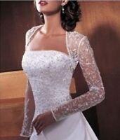 Bridal wedding shawl lace Long-sleeved jacket white/ivory 3/4 BOLERO shrug coat