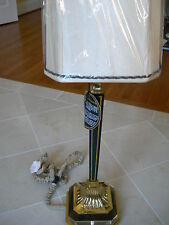 Maitland Smith Polished Brass Marble Veneer With Inlay Table Lamp