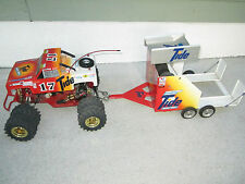 VINTAGE TAMIYA BLACKFOOT WITH HOTTRICK AND CUSTOM TRAILER!!