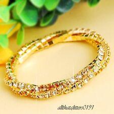 Stupéfiant 3 Rang Entortillé Cristal / Diamante Bracelet Plaqué Or