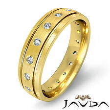 Bezel Diamond Mens Eternity Wedding Bevel Edge Dome Band 14k Yellow Gold 0.35Ct