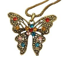 Vintage Style Colorful Rhinestone Filigree Butterfly Bronze Pendant Necklace
