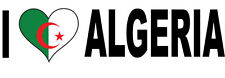 I LOVE ALGERIA WITH HEART FILLED ALGERIAN FLAG VINYL STICKER - 20 cm x 6 cm