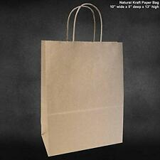 "10""x5""x13"" - 50 Pcs - Brown Kraft Paper Bags, Shopping, Mechandise, Party, Gift"