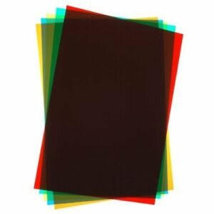 Coloured Acetate A4 - 6 Assorted Sheets Red, Yellow, Blue, Pink, Green, Clear