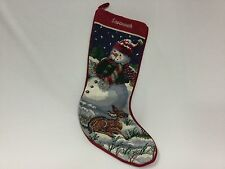 """Tapestry Christmas Stocking Needlepoint Snow Man Deer 19"""" Completed Savannah"""