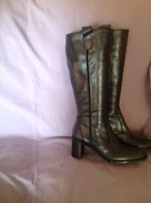VIA VAI DARK METALLIC GREY 100% LEATHER KNEE HIGH BOOTS UK 7/EU41  VGC