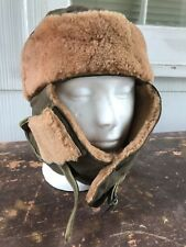 """WWII US Army Lambskin Lined Wool Winter """"Iceland"""" Cap w/ Nose & Ear Protection"""
