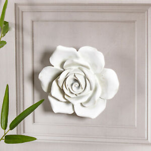 Large White Rose Wall Mounted Art Hanging Resin Chic Decoration Vintage Home