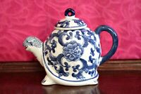 Vintage Chinese  Blue and White Porcelain Turtle Figural Tea Pot