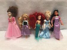 "Disney Princess Doll Cinderella Aurora Aerial Bell Pocahontas Mini Dolls Lot 6"""