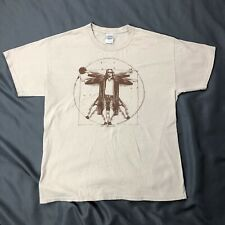 Big Lebowski Vitruvian Man Bowling Shirt Sz Large Tan Short Sleeve Tee