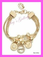 GUESS Jeans Rhinestones Logo Bangle  Bracelet  Gold Tone Charms Beads  NWT