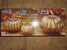Decorative Glass Pumpkins - Set of 3 - Gold - Fall Halloween Thanksgiving Decor