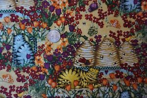 Cotton Fabric -BTY-Garden Buzz by Debi Hron--Cats, Flowers, Bees, Hives--Bright