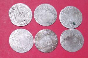 Poland coins 1/24 thaler  6 pcs silver