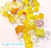 Boehmisches Glasperlen PRECIOSA Gelb MIX 50g Mischung Perlenset 4 -15mm R227
