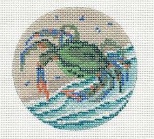 Needle Crossings Blue Crab on the Beach Ornament handpainted Needlepoint Canvas