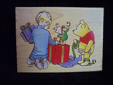 "Disney Winnie The Pooh Wood Mounted Rubber Stamp ""Gift Wrapping Party"" Rare New"