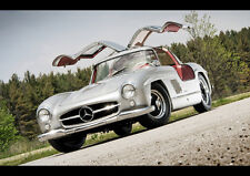 BEAUTIFUL OLD MERCEDES 300SL NEW A3 CANVAS GICLEE ART PRINT POSTER FRAMED