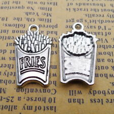 10pcs Charms French Fries Chips Snack Tibetan Silver Beads Pendant DIY 15*25mm