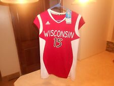BRAND NWT NCAA UNIVERSITY OF WISCONSIN BADGERS ADIDAS VOLLEYBALL JERSEY SIZE M