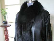 Elegant Long Black Woman Leather Coat with Fox Fur