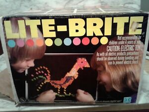Vintage Hasbro LITE BRITE w/ Original Box, Template Paper, & Pegs. Tested Works