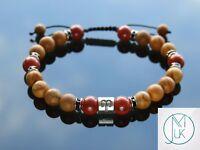 Aries Wooden Jasper Birthstone Bracelet 6-9'' Macrame Healing Stone Chakra Reiki