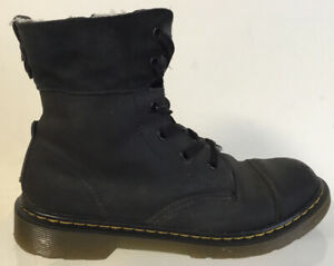 Dr Doc Martens Aimilita fold down leather biker boots fur lined size UK 4 EU 37