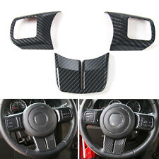 For Compass Patriot Wrangler 11-16 Carbon Fiber Style Steering Wheel Cover Trim