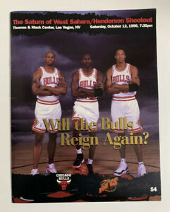 1996 Chicago Bulls NBA Program Las Vegas 10/12/96 Michael Jordan Pippen Rodman