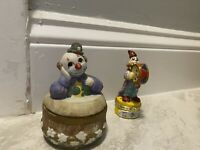 Vintage Drum Clown Trinket Jewelry Box Holder Porcelain Lot Of 2 Collectible