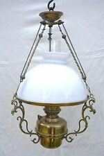French Opaline Glass Chandelier Brass Matador Oil Lamp Burner 1920