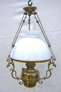 French Opaline Glass Chandelier Brass Matador Oil Lamp Burner 1920