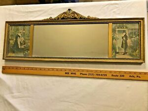 """Vintage Victorian Oblong Gold Ornate Wood Wall Mirror Painting 32"""" x 9 1/2"""""""