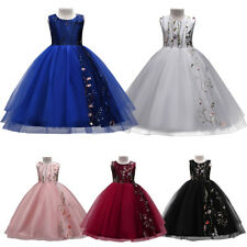 Princess Flower Embroidery Wedding Bridesmaid Formal Tulle Dress for Kids Girl