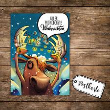 A6 Postkarte Print Karte Elch Lichterkette & Spruch fröhliche Weihnachten pk121