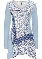 Longshirt Patchwork Look Gr 32 34 jeansblau bedruckt Shirt Tunika neu