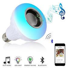 Wireless Bluetooth Speaker Bulb Light 12W LED RGB Smart Music Play Lamp Remote
