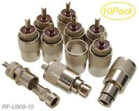 10pk UHF PL259 Male Solder Connectors for RG8/RG213/LMR400 w/Reducer for RG8x
