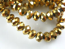 Bulk 200Pcs Gold Plated Crystal Glass Faceted Rondelle Bead 4mm Spacer Findings