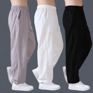 Linen Martial Arts Taichi Trousers Casual Kung Fu Wingchun Shaolin Pants Men Hot