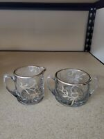 VINTAGE Silver Overlay Open Sugar Bowl  and Creamer Pitcher